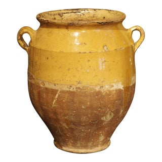 Yellow Glazed Antique French Terracotta Confit Pot, 19th Century For Sale