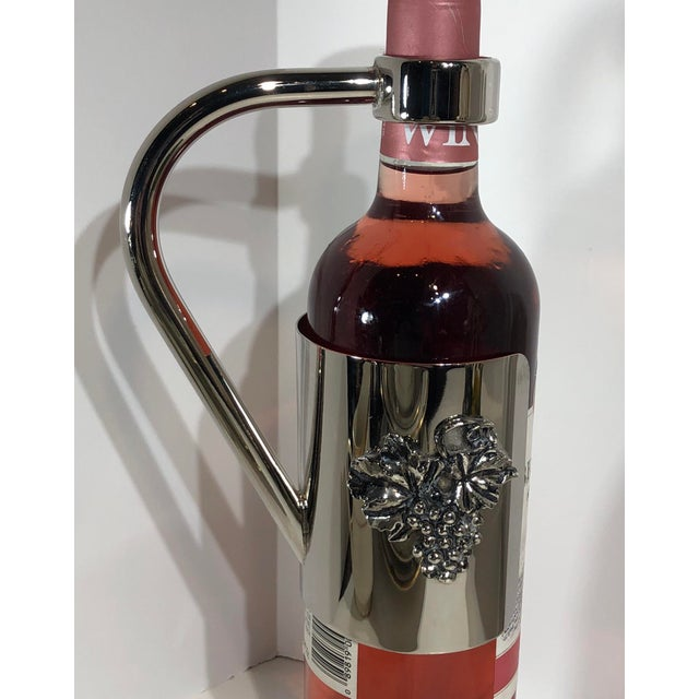 Vintage Silver Plated Wine Holder Velvet in Handle Caddy and Grape Decoration For Sale - Image 12 of 13