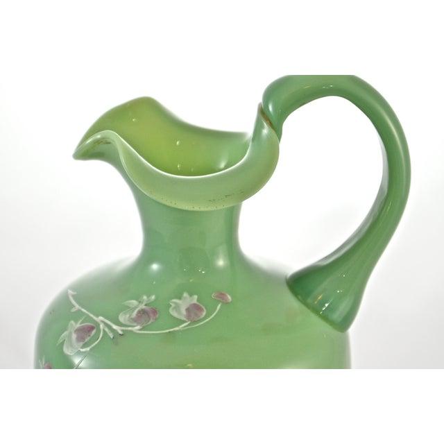 Art Nouveau 19th Century Green Jadeite Glass Vase For Sale - Image 3 of 8