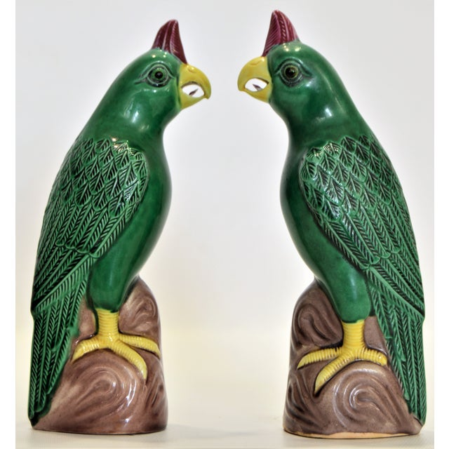 Vintage Small Chinese Porcelain Parrot Bird Figurines -A Pair-Oriental Asian Mid Century Modern Boho Palm Beach Chic Sculpture Ceramic Pottery Phoenix For Sale - Image 13 of 13