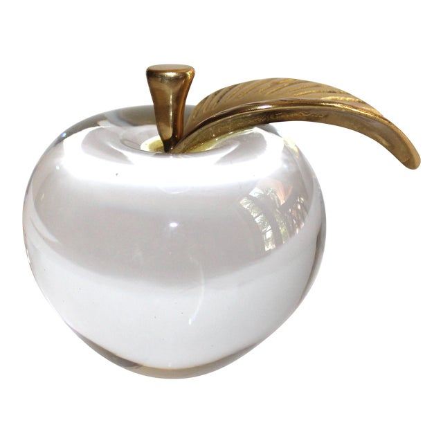 1970's Crystal Apple Paperweight With Brass Stem & Leaf For Sale