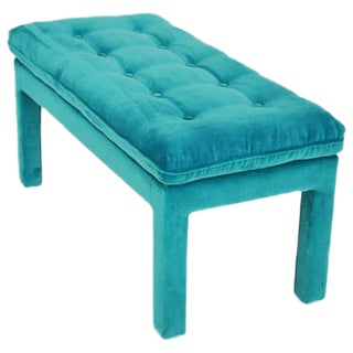 Milo Baughman Turquoise Velvet Bench For Sale