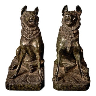 Rare Pair of Serpentine Grand Tour Molossian Hounds - England, 19th Century For Sale