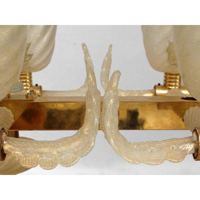 """Italian Murano Gold Dusted """"Pulegoso"""" Bubbled Glass and Brass Chandeliers For Sale - Image 4 of 8"""