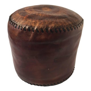 African Hand Tooled Brown Leather Pouf For Sale