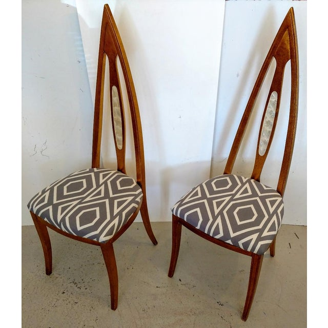 Art Deco 1960's Cathedral Arch-Backed Side Chairs, Gold-Leafed/ Shell Inlaid, a Pair For Sale - Image 3 of 12