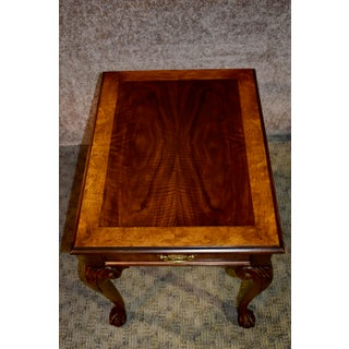 Vintage Baker Chippendale Style Banded Side Table With Drawer & Ball & Claw Feet Preview