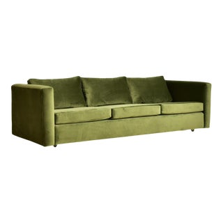 Vintage 1970's Olive Green Velvet Sofa For Sale