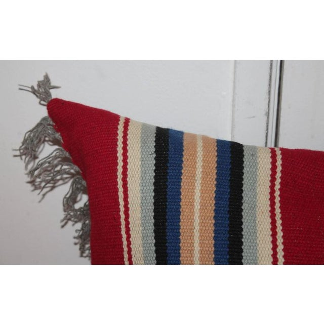 Adirondack Mexican Indian Handwoven Serape Bolster Pillow For Sale - Image 3 of 7