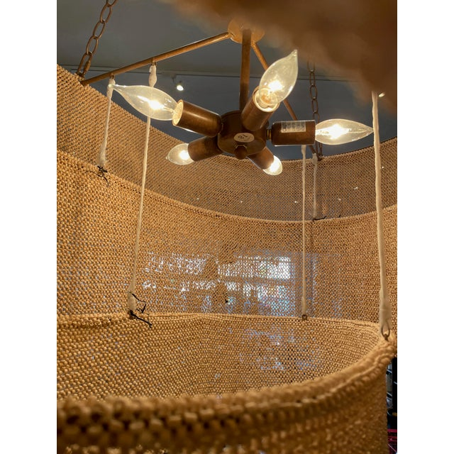 Lights Three Tier Woven Bead Chandelier For Sale - Image 7 of 9