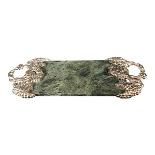 Godinger Silver-Plated Green Marble Serving Cheese Tray With Pewter Grapes Vines For Sale