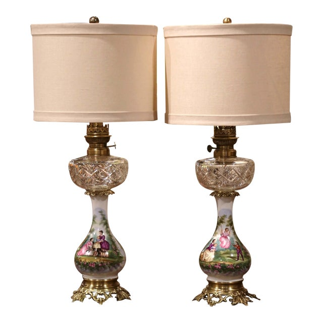 Pair of 19th Century French Porcelain, Bronze, Brass and Cut Glass Table Lamps For Sale