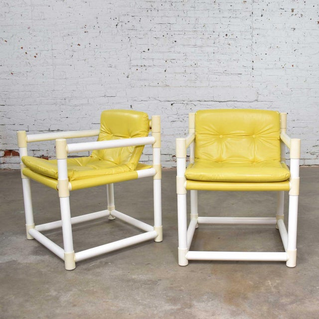 MCM Outdoor Pvc Side Chairs Yellow Vinyl Upholstery by Decorion Fun Furnishings - a Pair For Sale - Image 11 of 11