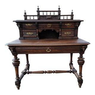 Antique Renaissance Revival Carved Oak Writing Table For Sale