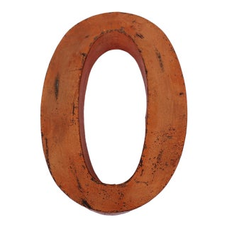 "Metal Letter ""0"" in Orange For Sale"