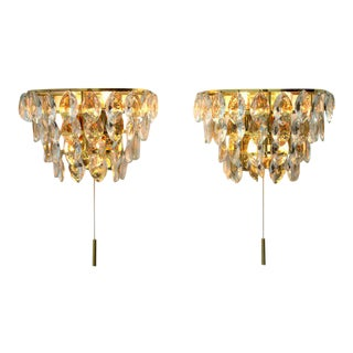 Pair of Palwa Wall Sconces, Gilded Brass and Crystal Glass, Germany 1960s For Sale