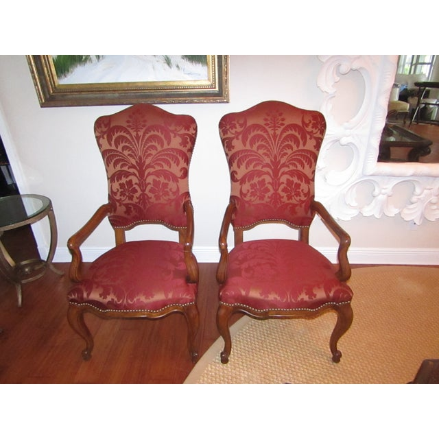 Red Century Furniture Host & Hostess Damask Silk Upholstery Chairs - a Pair For Sale - Image 8 of 8