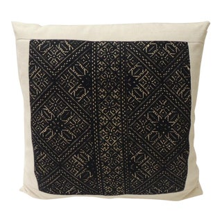Black and Natural Fez Embroidery Textile Decorative Pillow For Sale