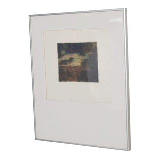 Classic Modernist Abstract Landscape Signed Aluminum Frame For Sale