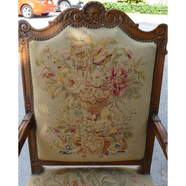 Brown 20th Century French Petit Point Needlepoint Seat Bergere Chairs - a Pair For Sale - Image 8 of 13