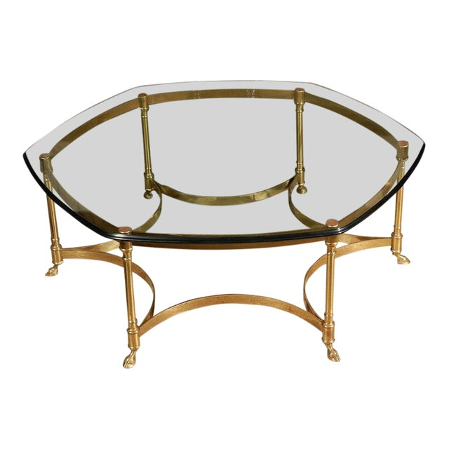 Polished Brass and Glass Octagonal Coffee Table, La Barge For Sale