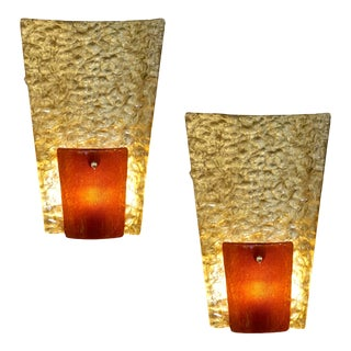 Contemporary Italian Gold and Amber/Orange Murano Glass Organic Sconces - a Pair For Sale
