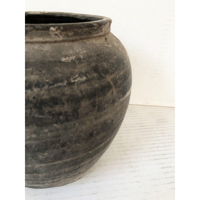 Contemporary Antique Distressed Matte Black/Gray Pottery Cachepot For Sale - Image 3 of 4