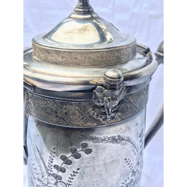 Metal 1870s Reed & Barton Victorian Silverplated Water Pitcher For Sale - Image 7 of 13