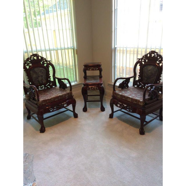 Asian Chinese Carved Solid Rosewood Marble Back Armchairs - a Pair For Sale - Image 3 of 9