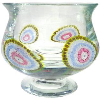 Murano Mandala Millefiori Flower Mosaic Italian Art Glass Footed Bowl Vase For Sale