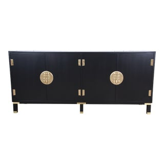Michael Taylor for Baker Hollywood Regency Chinoiserie Ebonized Sideboard Credenza For Sale