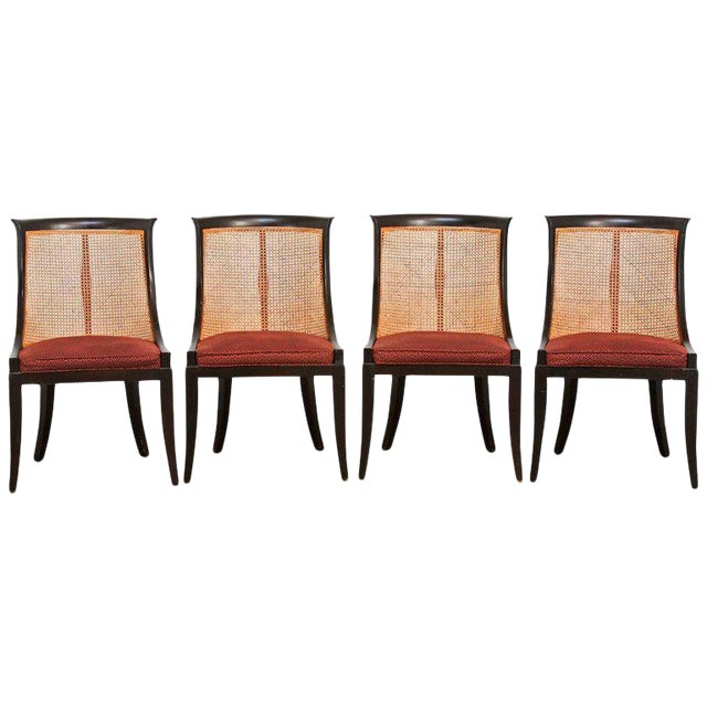 James Mont Style Ebonized Dining Chairs - Set of 4 For Sale