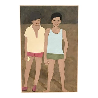 Large Vintage Painting - Two Kids - Artist Polaris For Sale