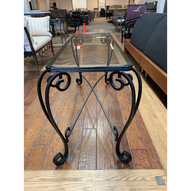 Italian Style Wrought Iron Scroll Base + Glass Console For Sale - Image 4 of 8