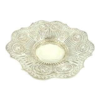 Antique Silver Bowl Centerpiece /Pierced Work Ornate Design Feauturing Bay Leaf Garland & Birds / Hanau Collectors / Circa 1890 For Sale