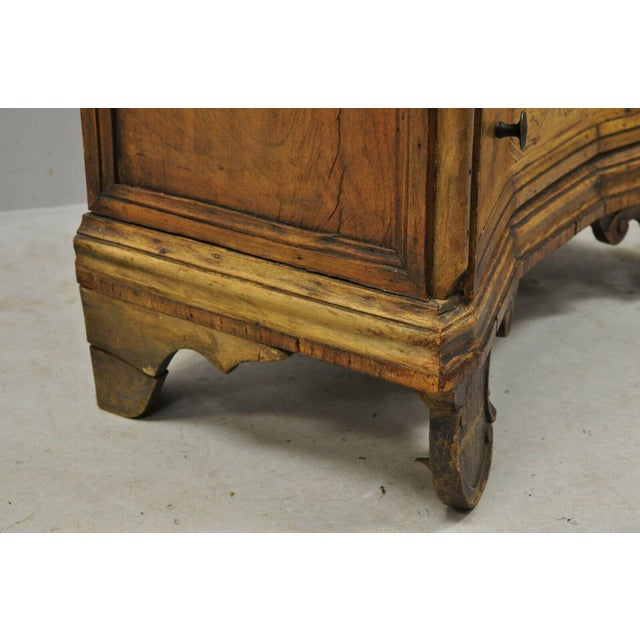 Antique Italian Continental 3 Drawer Inlaid Walnut Commode Chest Nightstand For Sale - Image 9 of 12