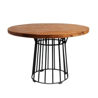 Round Teak and Iron Dining Table For Sale