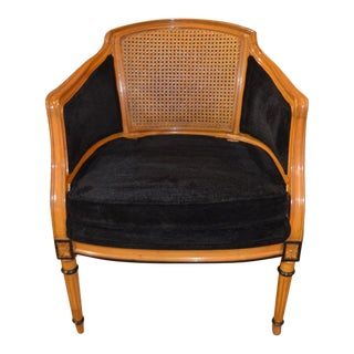 1980s Biedermeier Rounded Cane Back Accent Chair For Sale
