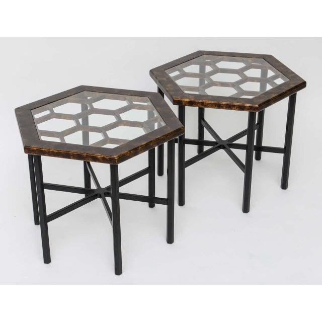 1960s Asian Widdicomb Pair Hexangonal Faux Tortoise Occasional Tables - a Pair For Sale - Image 10 of 11