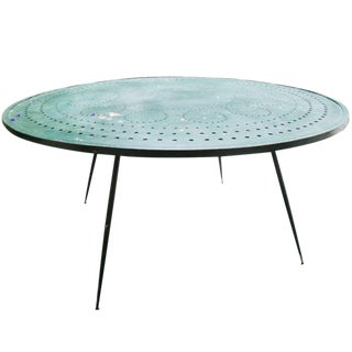 French Green Steel Garden Table For Sale