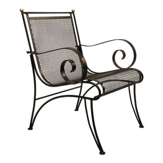 Midcentury Partial Gilt Wrought Iron Lounge Chairs Attributed to Rene Prou, Pair For Sale