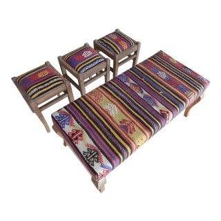 Turkish Kilim Handmade Bench & Ottomans - Set of 4 For Sale