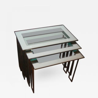 Jean Royère Three 1950s Nesting Tables With Base in Gilt Wrought Iron