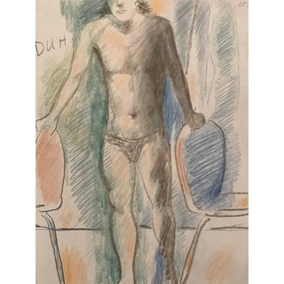 James Bone Colorful Male Nude Drawing 1990s For Sale