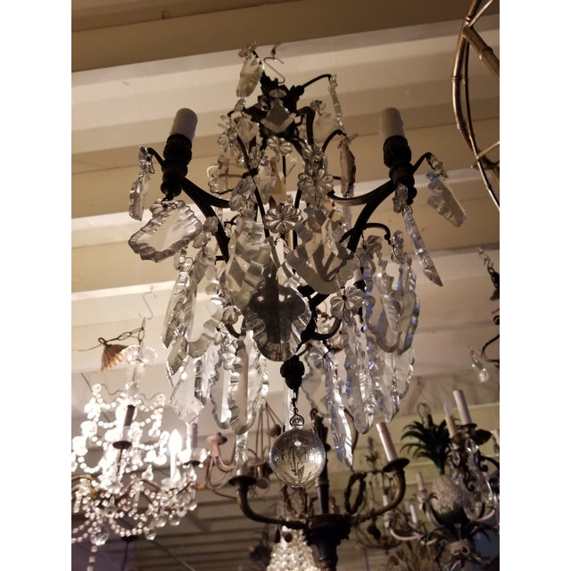 French Four Light Chandelier With Cut Crystal Prisms For Sale - Image 12 of 12