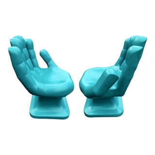 Modern Sculptural Turquoise Hand Shaped Chairs - a Pair For Sale