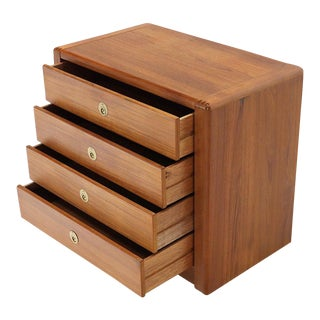 Danish Mid-Century Modern Teak 4-Drawer Bachelor Chest Dresser Credenza For Sale