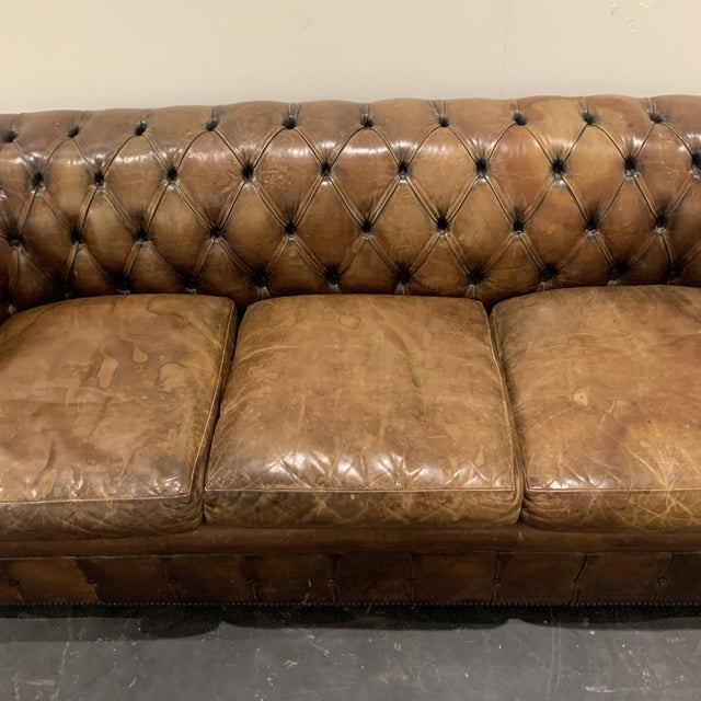 1980s 1980s Brown Leather Chesterfield Sofa For Sale - Image 5 of 13