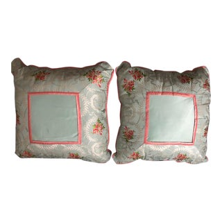 Powder Blue and Rose Scalamandre Silk Pillows - A Pair For Sale