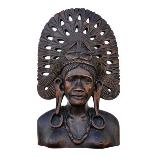 """Balinese Wood Carved Bust Sculpture of a Woman With Headdress - 16"""" Tall For Sale"""